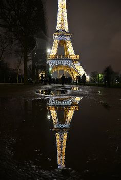 Reflections of Paris Eiffel Tower / France Paris At Night, Paris 3, Montmartre Paris, Paris Cafe, Places Around The World, Oh The Places You'll Go, Places To Travel, Paris Torre Eiffel, Paris Eiffel Tower