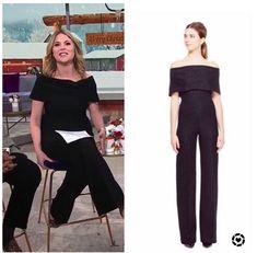 Jenna Bush Hager's Black Off the Shoulder Jumpsuit Jenna Bush Hager, Hoda Kotb, Today Show, Off The Shoulder, Girly, Jumpsuit, Sequins, Portrait, Closet