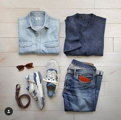 Blue The color my dreams are made of. Shoes: /newbalance/ Made In USA 998 Explore by Sea Wallet: Sweater: /jcrew/ Shirt: /uniqlousa/ Belt: /toddsnyderny/ Glasses: /rayban/ Denim: RRL /ralphlauren/ by Fashion Mode, Look Fashion, Mens Fashion, Casual Wear, Casual Outfits, Men Casual, Mode Outfits, Fashion Outfits, Mode Cool