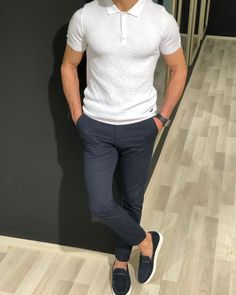 Virgin Slim-Fit Collar T-shirt White made of Cotton and Elestan. Adena Men's Navy Blue Slim-Fit Cotton Chino Pants made of Cotton and Elestan. Navy Blue Kilt Espadrille Loafer are ready-to-wear shoes, comfortable and make your look more stylish. White Polo Shirt Outfit, Chinos Men Outfit, Polo Shirt Outfits, Polo Outfit, Mens Polo T Shirts, Stylish Mens Outfits, Casual Outfits, Business Casual Men, Men Casual