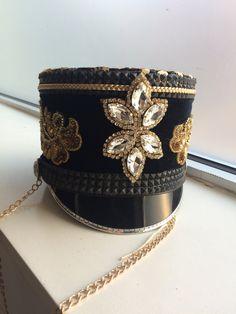 Burning Man Hat, Marching Band Hat, Custom Band Hat, Burner Fashion Cap, Black and Gold Hat Made to order hat,  Major Majorette