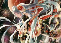 Spectacular Hatsune Miku by artist Michi (Iawei). Hatsune Miku, Kaito, Art Anime, Manga Art, Mega Anime, Miku Chan, Mikuo, Anime Child, Anime Girls