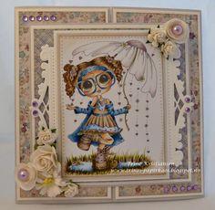 card by Trine Kristiansen using Sherri Baldy's My Besties Copic Pens, Copics, Owl Punch, Digi Stamps, Big Eyes, Paper Dolls, Besties, Stampin Up, Blogging