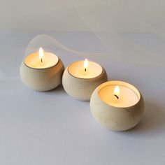 Set of 3 wooden tea lights holders/  Unfinished wood by NeliStudio