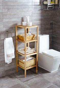 Las columnas auxiliares son ideales para tener todo a mano en el baño