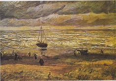 View of the Sea at Scheveningen - Vincent van Gogh. This is the Van Gogh Alex has to steal in Barcelona. (From the novel, Van Gogh Gone (Remembrandt by Robin King) Vincent Van Gogh Werke, Vincent Willem Van Gogh, Van Gogh Museum, Van Gogh Arte, Van Gogh Pinturas, Art Et Nature, Van Gogh Paintings, Impressionist Artists, Art Van