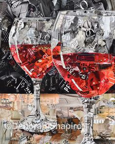 Torn paper collage of two glasses of red wine – Deborah Shapiro Art Paper Collage Art, Collage Art Mixed Media, Collage Artwork, Painting Collage, Collage Artists, Paintings, Magazine Collage, Magazine Art, Wine Magazine