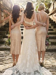 Sexy V-neck Rose Gold Sequins Mid-calf Bridesmaid Dress/Wedding Party Dress