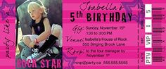 Printable Concert Ticket Birthday Invitation (edit in Photoshop/ Paint)