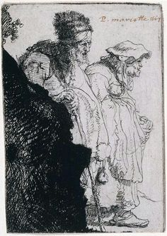 Rembrandt Harmenszoon van Rijn(1606–1669)Beggar Man and Woman Behind a Bank,ca. 1630