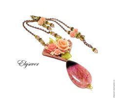 """Купить Кулон и серьги """"Оттенки души"""". - розы, украшение с розами, кулон с розами, кулон с агатом"""