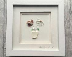 Sea glass art - flowers
