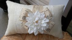 Romantic Off White  Lace and Oyster  Burlap  17 X by cindidavis1, $16.00
