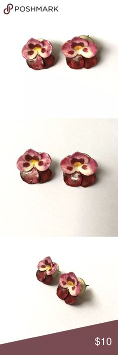 """Vintage orchid flower pierced earrings Vintage orchid flower pierced earrings; very lightweight, unsure of material used (has a hard paper feel), they look homemade (see photos of backs); show normal wear to backs; super cute! approx 3/4"""" tall Vintage Jewelry Earrings"""