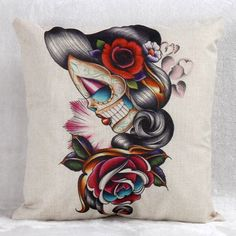 Flower Decorated Skullgirls Pattern Square Shape Pillow Case(Without Pillow Inner) #women, #men, #hats, #watches, #belts