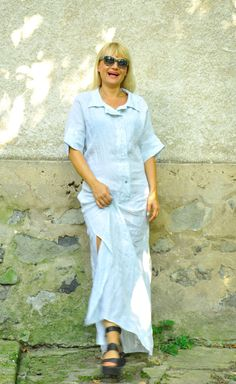 Light blue dress/Long Linen 100% dress/Maxi dress/Long shirt/Long summer…
