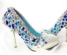Blue Princess Crystal Wedding Shoes