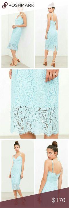 FINAL PRICE KEEPSAKE Tiffany Blue Lace Midi Dress NWTs. Back zip closure. A true to size XS. Keepsake Dresses Midi
