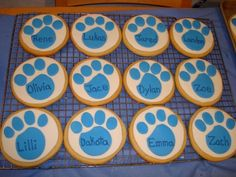 Paw Print Cookie Blues Clues Theme Party almost a 5 inch round, NFSC with rolled fondant, names in RI. This Paw was made for a Blues Clues...