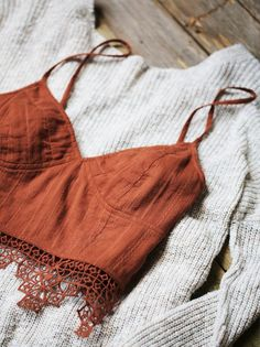 FP One Geo Lace Bralette | Structured brami in a diamond-striped jacquard with intricate lace trim and stretchy smocked back. Adjustable straps.