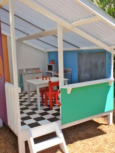 Yet another view! Cubby house interior #kids #play #backyard