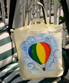 Hand Painted Tote #Purse Hot Air Balloon Bag by ipaintitpretty - Found on HeartThis.com @HeartThis | See item http://www.heartthis.com/product/331524845912269864?cid=pinterest