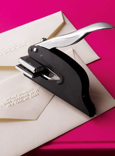 Address Embosser- have one! Used for our wedding invitations, xmas cards etc. - love it! Our Wedding, Dream Wedding, Wedding Pins, Wedding Venues, Wedding Week, Trendy Wedding, Perfect Wedding, Wedding Stuff, Wedding Destinations
