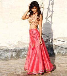 Pink Cotton Silk Skirt With Gold Chanderi Brocade Crop Top