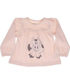 Wheat soft pink baby blouse with cow print. wheat.en.emilea.be