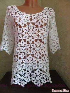 Delicadezas en crochet Gabriela: Túnica de motivos manga tres cuartos