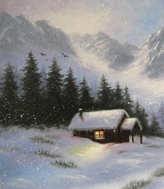 ♥♥♥ Relax...Youre at the cabin now! Soft snow covered mountains with a cozy cabin nestled in the valley with a few tiny glitter sparkles in the snow! ♥♥ Snowy Hideaway is an original oil painting of mine. It is painted on a 12 X 16 stretched canvas with .8 edges and staples on the sides. This painting would love a frame! Varnished. Snowy Hideaway ships in a protective cello sleeve using recycled padding. Please contact me if you have any questions! Thankyou for looking at my winter art…