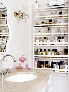 I like the shallow shelf - I've always wanted one life that for nail polish (like you see at the spa)