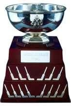 The William M. Jennings Trophy,awarded to the goaltender who's team has the least amount of goals scored against them. The goaltender also has to play a minimum of 25 games in that season. Hockey Trophies, Sports Trophies, Nhl Awards, Nhl Players, National Hockey League, Jouer, Ceux Ci, Decorative Bowls, Buts