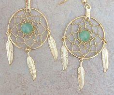 "$10 DREAMIN in GOLD and GREEN  Adventurine  Large Dream catcher earrings-1"" dreamwebs"