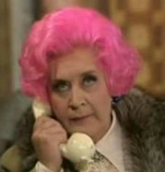 Judge Judy - Receiving Phonecall from Mrs. Mollie Sugden, Are You Being Served, Judge Judy, British Comedy, Ronald Mcdonald, Tv Shows, Winter Hats, Image, Films