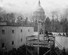 An execution in Washington, D.C., on November 10, 1865. Henry Wirz, former commander of the Confederate prisoner of war camp near Andersonville, Georgia, was tried and hung after the war for conspiracy and murder related to his command of the notorious camp. (LOC)