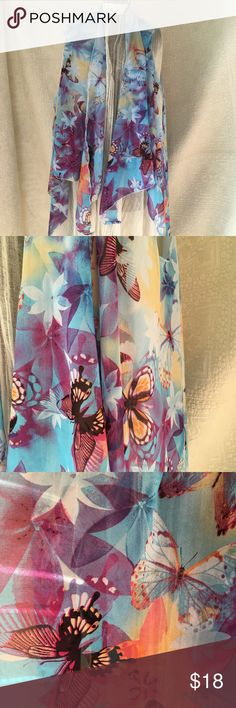 Sheer Butterflies Asymmetrical Sleeveless Wrap Blue field with Red Orange Purple Butterflies Serged edges Drapes Well  Beautiful Colors and Design   One Size   Bin 0247 Accessories Scarves & Wraps