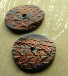 Items similar to Copper Brown Disc Connectors Round Handmade Primitive Tribal Mayan Button Donut Polymer Clay on Etsy
