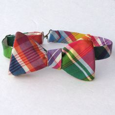 Bow Tie in Fiesta Madras Plaid by MossTies on Etsy