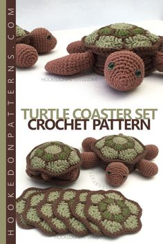 Turtle and Tortoise Coaster Set crochet pattern. Crochet these super cute coaster sets in the shape of a land turtle (tortoise) or sea turtle. A crochet pattern for 6 shell shaped coasters that store neatly inside a turtle shaped holder. When the coasters are out in use, the turtles can flip inside out to hide inside their shells! Click through to the website to watch the turtle flipping in action!