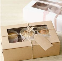 Holes Kraft Paper Cupcake Packaging Box Snacks Muffin Party Case DIY 3 Sizes by Kraft Box Packaging, Cake Boxes Packaging, Cupcake Packaging, Baking Packaging, Biscuits Packaging, Dessert Packaging, Bread Packaging, Cupcakes Packaging Ideas, Cupcake Boxes