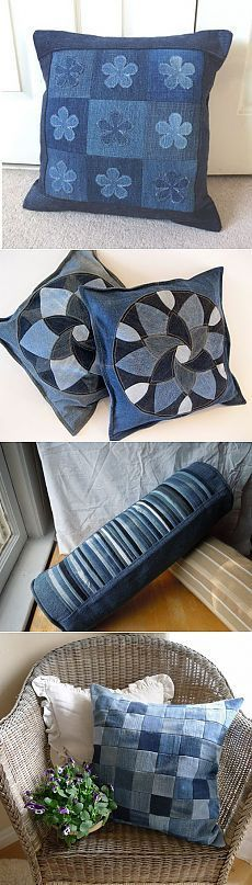 Denim patchwork cushions - great way to recycle your old jeans! Из джинсов своими руками | HandMade