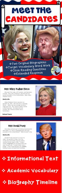 The 2016 Presidential Election is here!  Use these non-fiction reading passages, vocabulary activities, and timeline graphic organizers to provide background knowledge about the two leading presidential candidates – Hillary Clinton and Donald Trump. Academic Vocabulary, Vocabulary Activities, Teaching Activities, Teaching Ideas, Reading Comprehension Activities, Reading Passages, Back To School Night, Middle School, Teaching Government