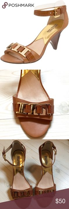 New MICHAEL Michael Kors Ankle-Strap Sandal MICHAEL by Michael Kors, Tan Leather Ankle-Strap Sandal with Gold Michael Kors Hardware across Toe. Never Worn. New but no box. MICHAEL Michael Kors Shoes Heels
