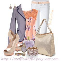 """Lavender, Peach & Metallics"" by steffiestaffie on Polyvore"