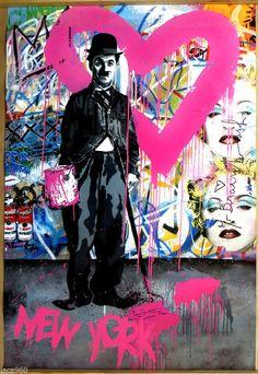 Mr Brainwash (Thierry Guetta) Charlie Chaplin Urban Grafitti Style Litho Poster