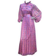 A fine Thea Porter Silk Chiffon Floral Maxi Dress c.1969