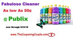Fabuloso Multi-Purpose Cleaner As Low As $0.50 @ Publix Now thru 9/23. Be sure to clip your coupons and grab a couple at this great price!  Click the link below to get all of the details ► http://www.thecouponingcouple.com/fabuloso-multi-purpose-cleaner-as-low-as-0-50-publix/ #Coupons #Couponing #CouponCommunity  Visit us at http://www.thecouponingcouple.com for more great posts!