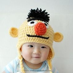 Crochet Child Hats Bert Muppet Hat Bert's Child Hat by stylishbabyhats Crochet Baby Hats