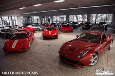 Dream garage filled with Ferrari's
